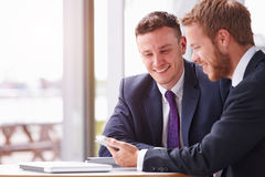 Two business colleagues in a meeting, close up Royalty Free Stock Images