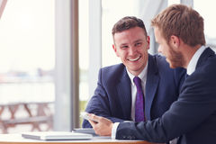 Two business colleagues in a meeting, close up Royalty Free Stock Image
