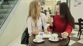 Two business ladyes check the documents, the interview. Checking documents, records, business meeting. Two very attractive girls communicate on business issues stock video