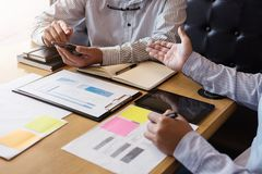 Two Business man or accountant working Financial investment, wri Stock Photography