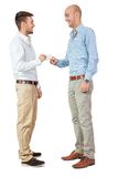 Two business man and business card  isolated Stock Image