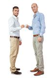 Two business man and business card  isolated Stock Photo