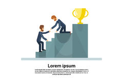 Two Business Man Climb Stairs Podium Golden Cup Successful Team Teamwork Concept Stock Image