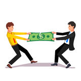 Two business man fighting over a market income. Share tearing big dollar apart. Flat style vector illustration Royalty Free Stock Images