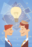Two Business Man New Idea Concept Light Bulb Creative Brainstorm Cooperation. Flat Vector Illustration Stock Photo