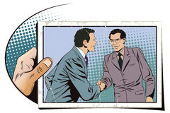 Two business man shaking hands. Stock illustration. Stock Photo