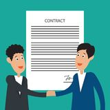 Two business man shaking hands to each other with signed contract form. Vector illustration vector illustration