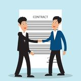 Two business man shaking hands to each other with signed contract form. Vector illustration royalty free illustration