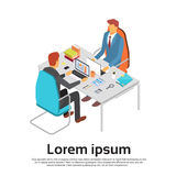 Two Business Man Work Laptop Desk Workspace Copy Space 3d Isometric. Vector Illustration royalty free illustration