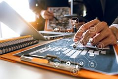 Two business meeting professional investor  working together stock image