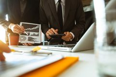 Two business meeting professional investor working together. Business team meeting. professional investor working new start up project. Finance task. with smart royalty free stock photo