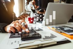 Two business meeting professional investor  working together. Business team meeting. professional investor working new start up project. Finance task. with smart royalty free stock photography