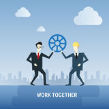 Two Business Men Hold Cog Wheel Work Together Ponder Think Strategy Concept Royalty Free Stock Images
