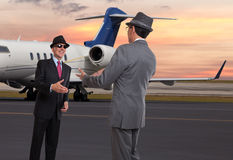 Two business men meeting. Two business man meeting at the executive airport Royalty Free Stock Photos
