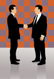 Two business men shaking hands. Two well dressed business men shaking hands and greeting each other, on colorful checkerboard background Royalty Free Stock Photo