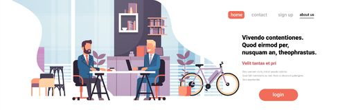 Two business men sitting office desk modern coworking space working together interior background male cartoon character. Horizontal banner flat vector stock illustration