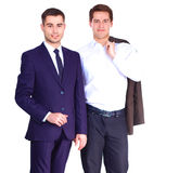 Two business men standing isolated on white background. Two business men standing  isolated on white background Stock Image