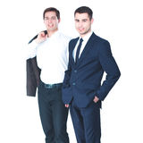 Two business men standing isolated on white background.  Royalty Free Stock Images