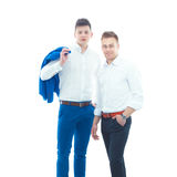 Two business men standing isolated on white background.  Royalty Free Stock Photos