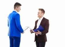 Two business men standing isolated on white background. Two business men standing  isolated on white background Royalty Free Stock Photos
