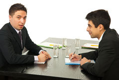 Two business men talking at meeting Stock Photography