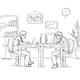 Two Business Men Working Office Interior Sketch Stock Images