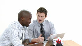 Two Business men working together stock footage