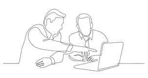 Two business partners discussing presentation on laptop screen - one line drawing stock illustration