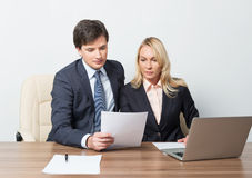 Two business partners working Royalty Free Stock Photography