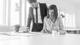 Two business partners working on paperwork. Two business partners, a young men and woman, working together on paperwork at a large office table viewed low angle Stock Photography