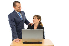 Two business people. Showing happy expression and smiling. concept for team work, business, and work related Stock Photos