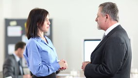 Two business people chatting. In conference room (Full HD stock footage