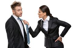 Two business people debate and fight royalty free stock photo