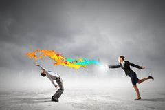 Two business people fighting with each other Stock Photography