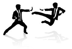 Business Competition Concept People Fighting. Two business people fighting in martial arts or karate style. Competition concept Royalty Free Stock Photography