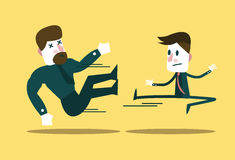 Two business people fighting. Small businessman win big guy. Business metaphor.  flat character design. vector illustration Stock Photography