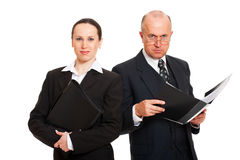 Two business people with folders Stock Photography