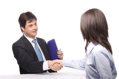 Two business people hands. Isolated Royalty Free Stock Photo