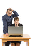 Two business people having problems. At work isolated on a white background Stock Images