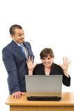 Two business people having problems. At work isolated on a white background Royalty Free Stock Photography