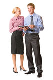 Two business people, isolated Royalty Free Stock Images
