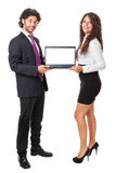 Two business people with a laptop Royalty Free Stock Image