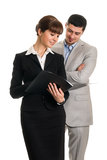 Two business people looking documents Royalty Free Stock Photography