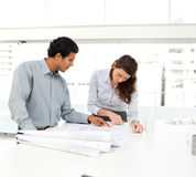 Two business people looking at a new project royalty free stock images