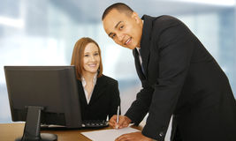 Two Business People In Office royalty free stock images