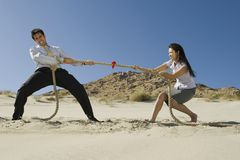 Two Business People Playing Tug Of War In The Desert. Side view of two business people playing tug of war in the desert Royalty Free Stock Photo