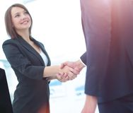 Business handshake. Two business people shaking hands in office. Royalty Free Stock Photo