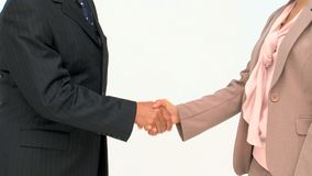 Two business people shaking hands. Isolated on a white background stock video footage