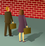 Business People Brick Wall Royalty Free Stock Image