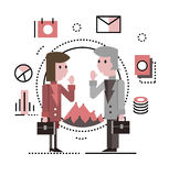 Two business people talking and discussing. Royalty Free Stock Image